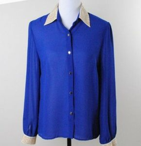 Papaya Sheer Blue Button Down Blouse With Studs and Long Sleeves Large